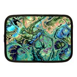 Fractal Batik Art Teal Turquoise Salmon Netbook Case (Medium)  Front