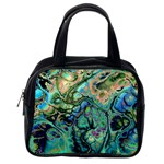 Fractal Batik Art Teal Turquoise Salmon Classic Handbags (One Side) Front
