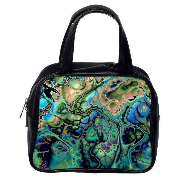 Fractal Batik Art Teal Turquoise Salmon Classic Handbags (One Side)