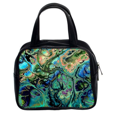 Fractal Batik Art Teal Turquoise Salmon Classic Handbags (2 Sides)