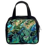 Fractal Batik Art Teal Turquoise Salmon Classic Handbags (2 Sides) Front