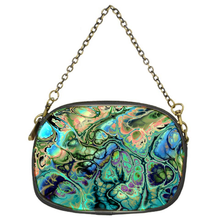 Fractal Batik Art Teal Turquoise Salmon Chain Purses (One Side)