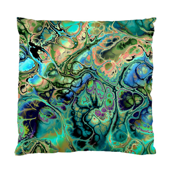 Fractal Batik Art Teal Turquoise Salmon Standard Cushion Case (Two Sides)