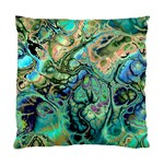Fractal Batik Art Teal Turquoise Salmon Standard Cushion Case (Two Sides) Back