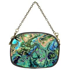 Fractal Batik Art Teal Turquoise Salmon Chain Purses (Two Sides)