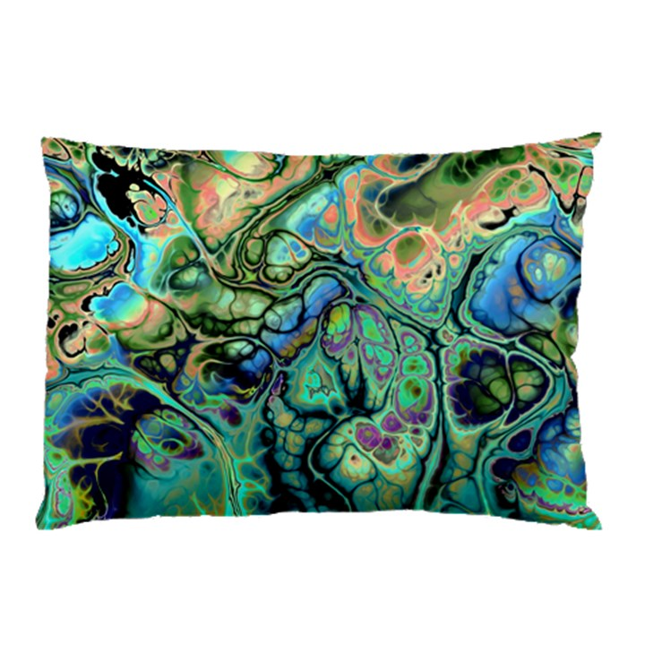 Fractal Batik Art Teal Turquoise Salmon Pillow Case