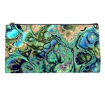 Fractal Batik Art Teal Turquoise Salmon Pencil Cases Front
