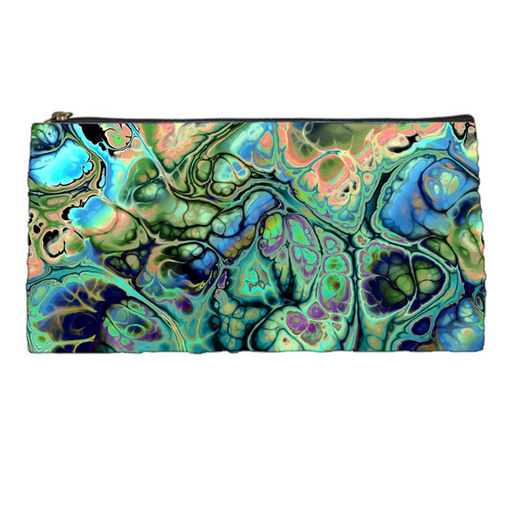 Fractal Batik Art Teal Turquoise Salmon Pencil Cases