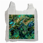 Fractal Batik Art Teal Turquoise Salmon Recycle Bag (One Side) Front