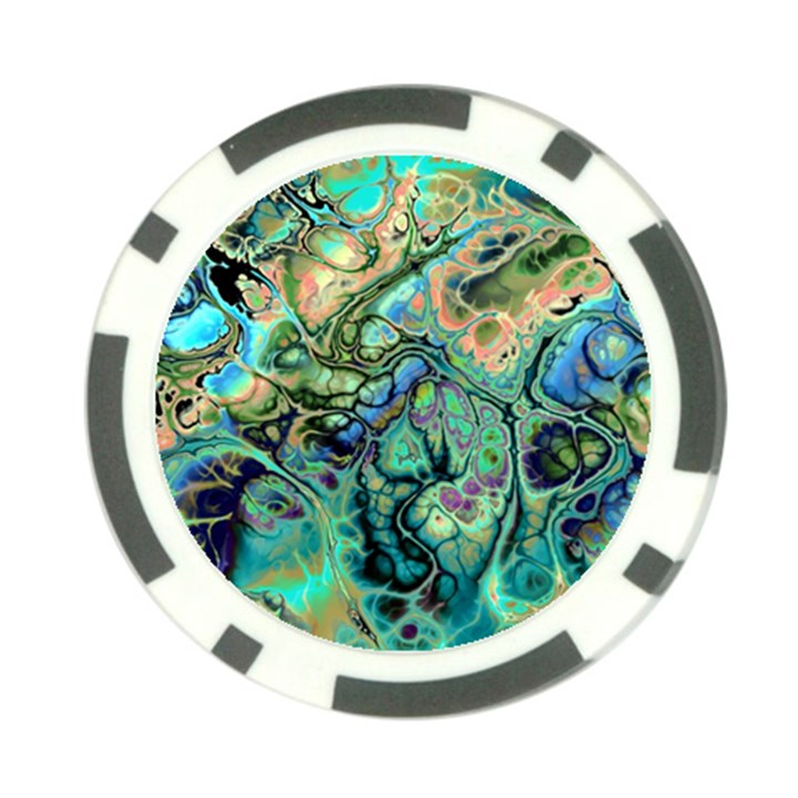Fractal Batik Art Teal Turquoise Salmon Poker Chip Card Guards (10 pack)