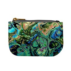 Fractal Batik Art Teal Turquoise Salmon Mini Coin Purses