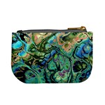 Fractal Batik Art Teal Turquoise Salmon Mini Coin Purses Back