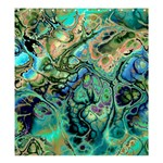 Fractal Batik Art Teal Turquoise Salmon Shower Curtain 66  x 72  (Large)  58.75 x64.8 Curtain