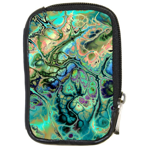 Fractal Batik Art Teal Turquoise Salmon Compact Camera Cases