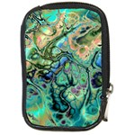 Fractal Batik Art Teal Turquoise Salmon Compact Camera Cases Front