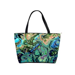 Fractal Batik Art Teal Turquoise Salmon Shoulder Handbags