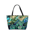 Fractal Batik Art Teal Turquoise Salmon Shoulder Handbags Front