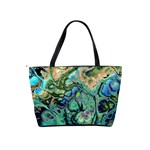 Fractal Batik Art Teal Turquoise Salmon Shoulder Handbags Back