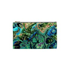 Fractal Batik Art Teal Turquoise Salmon Cosmetic Bag (small)