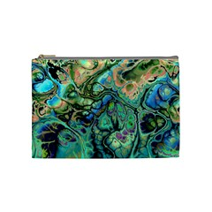 Fractal Batik Art Teal Turquoise Salmon Cosmetic Bag (Medium)