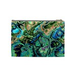 Fractal Batik Art Teal Turquoise Salmon Cosmetic Bag (Medium)  Back