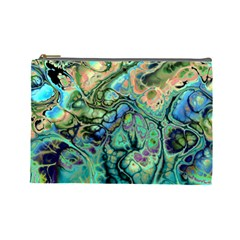 Fractal Batik Art Teal Turquoise Salmon Cosmetic Bag (Large)