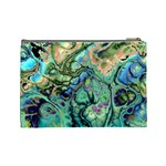 Fractal Batik Art Teal Turquoise Salmon Cosmetic Bag (Large)  Back