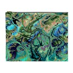Fractal Batik Art Teal Turquoise Salmon Cosmetic Bag (XL) Front