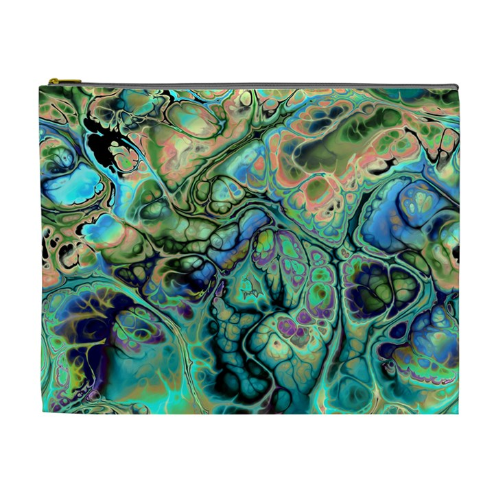 Fractal Batik Art Teal Turquoise Salmon Cosmetic Bag (XL)