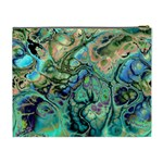 Fractal Batik Art Teal Turquoise Salmon Cosmetic Bag (XL) Back
