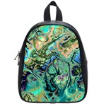 Fractal Batik Art Teal Turquoise Salmon School Bags (Small)  Front