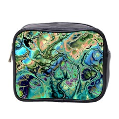 Fractal Batik Art Teal Turquoise Salmon Mini Toiletries Bag 2-Side