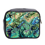 Fractal Batik Art Teal Turquoise Salmon Mini Toiletries Bag 2-Side Back