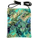 Fractal Batik Art Teal Turquoise Salmon Shoulder Sling Bags Front