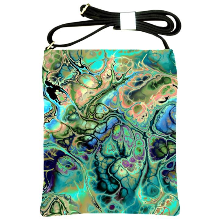 Fractal Batik Art Teal Turquoise Salmon Shoulder Sling Bags