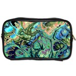 Fractal Batik Art Teal Turquoise Salmon Toiletries Bags 2-Side Front