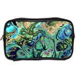 Fractal Batik Art Teal Turquoise Salmon Toiletries Bags 2-Side Back