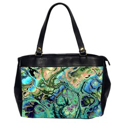 Fractal Batik Art Teal Turquoise Salmon Office Handbags (2 Sides)