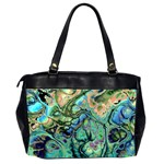 Fractal Batik Art Teal Turquoise Salmon Office Handbags (2 Sides)  Back