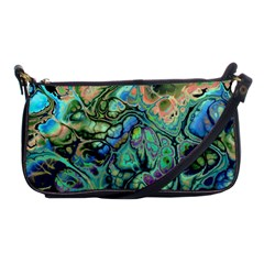 Fractal Batik Art Teal Turquoise Salmon Shoulder Clutch Bags
