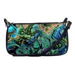 Fractal Batik Art Teal Turquoise Salmon Shoulder Clutch Bags Front