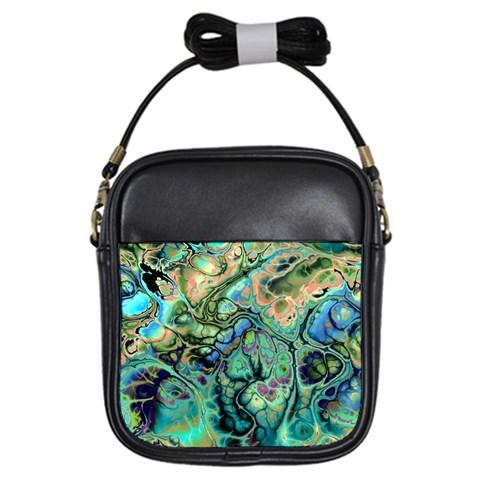 Fractal Batik Art Teal Turquoise Salmon Girls Sling Bags