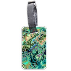 Fractal Batik Art Teal Turquoise Salmon Luggage Tags (One Side)