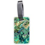 Fractal Batik Art Teal Turquoise Salmon Luggage Tags (Two Sides) Back