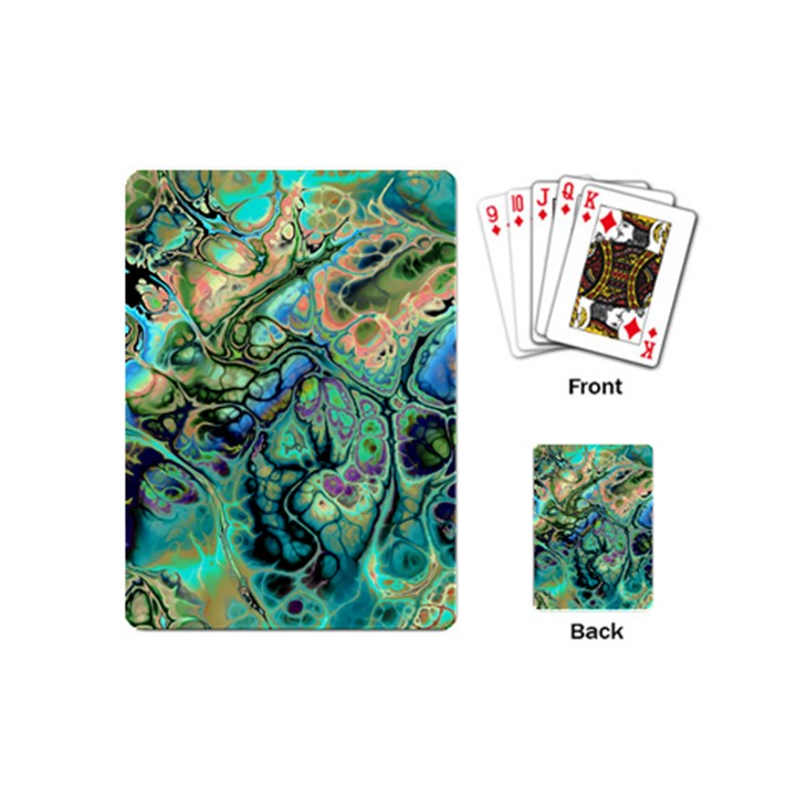 Fractal Batik Art Teal Turquoise Salmon Playing Cards (Mini)