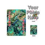 Fractal Batik Art Teal Turquoise Salmon Playing Cards 54 (Mini)  Front - Joker2