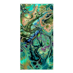 Fractal Batik Art Teal Turquoise Salmon Shower Curtain 36  X 72  (stall)