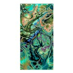 Fractal Batik Art Teal Turquoise Salmon Shower Curtain 36  x 72  (Stall)  33.26 x66.24 Curtain