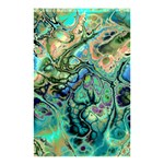 Fractal Batik Art Teal Turquoise Salmon Shower Curtain 48  x 72  (Small)  42.18 x64.8 Curtain