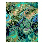 Fractal Batik Art Teal Turquoise Salmon Shower Curtain 60  x 72  (Medium)  54.25 x65.71 Curtain